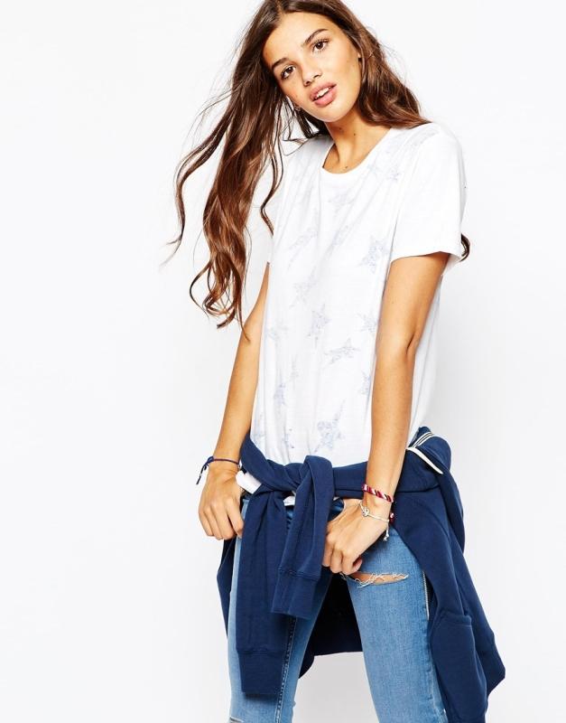Converse Boyfriend-T-Shirt mit ganzflächigem Sternprint